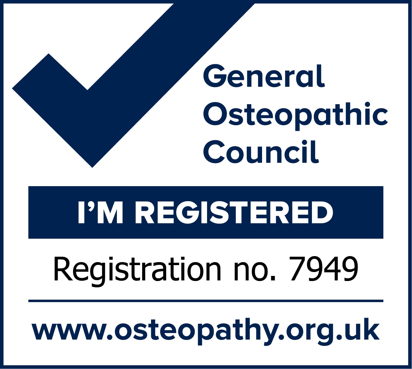 Emma Goffe I'm Registered Mark 7949